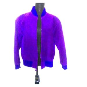 💜G-3 Vintage Purple Suede Bomber Jacket Size M